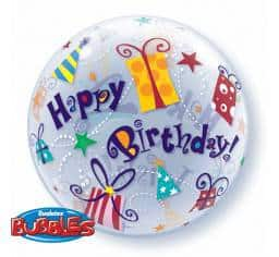 Qualtex 56cm Foil Happy Birthday (Presents) Helium Balloon