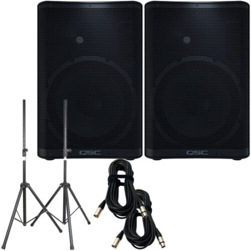 QSC CP12 2 Two with Stands & Cables (PAIR)