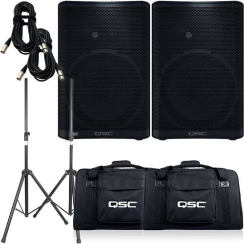 QSC CP12 Pack 1 with Bags, Stands & Cables (PAIR)