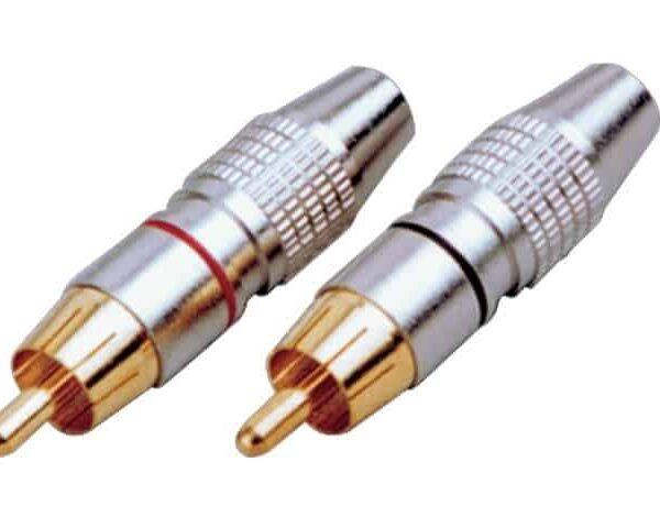 SoundKing RCAPMCBRH 2 PACK RCA-F Inline Socket Black & Red Metal